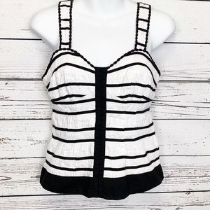 INC | black white fitted striped tank top •